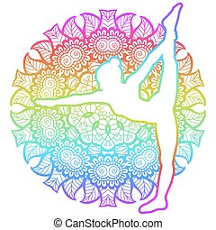 Women silhouette. Standing Bow Pulling yoga pose....