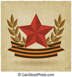 victory day symbols. star with ribbon old background. vector...