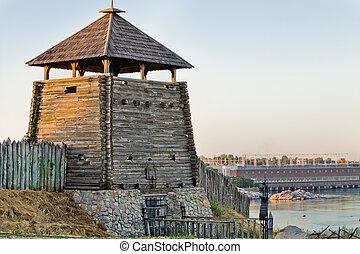 Wooden tower in the Zaporozhye Sich - Zaporizhzhya Sich on...