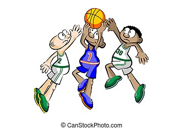 Three Basketball Players isolated over white