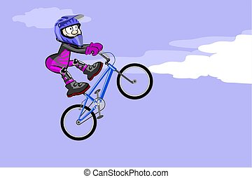 BMX riderjumping and flying - BMX rider jumping and flying....
