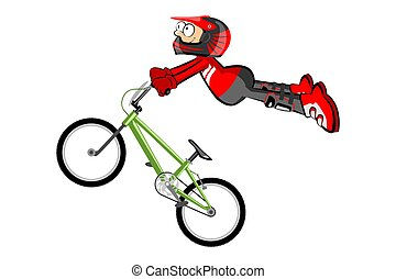 BMX rider isolated over white. Conceptual extreme vector...