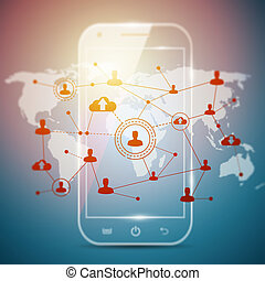 Social networking technologies in a smartphone