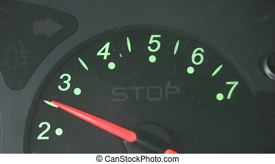 Rev Counter close up - Close up of a rev counter of a car,...