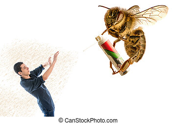 giant bee sprayn insectisid on a man