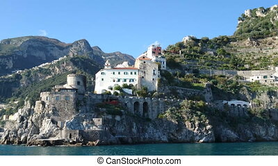 Buildings on the hills on the Amalfi coast