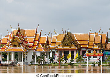 Temple in Ayuttaya, Thailand - Temple on the banks of Chao...