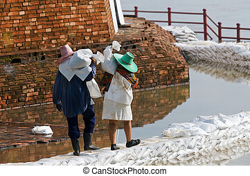 Women carrying sandbags during flood in Thailand - Women...