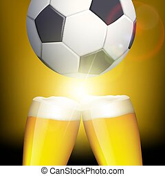 Glasses of beer and a soccer ball. Celebrating victory. Stock ve