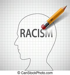 Pencil erases in the human head the word racism....