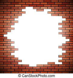 White hole in red brick wall