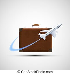 Plane flies round suitcase. Cargo delivery. Icon travel. Isolate