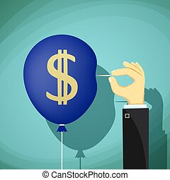 Hand with needle pierces the balloon. Dollar currency symbol. St