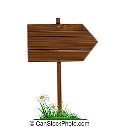 Wooden direction pointer. Road sign isolated on a white backgrou