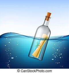 Glass bottle with message, floats in the water. Stock vector ill