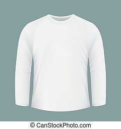 Template white shirt with long sleeves. Design for printing on f