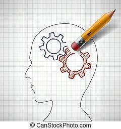 Pencil erases gears in human head. Stock vector. - Pencil...