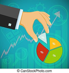 Businessman holding a financial graph. Revenues and profits....