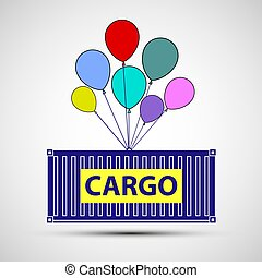 Icon freight container with balloons. Cargo delivery. Stock vect