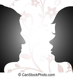 Woman and man looking at each other. Silhouette of a human head.