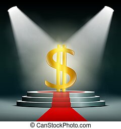 Currency dollar on a pedestal, illuminated by searchlights....