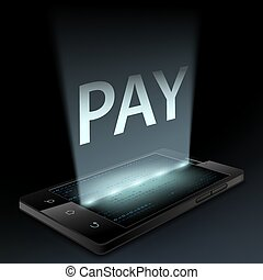 Smartphone with the word pay on the screen. Money transfer...