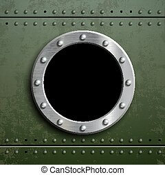Round window porthole on green metal background. Military...