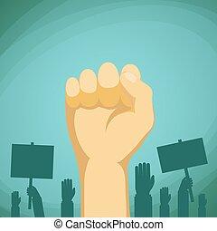 提高,  C, 手, 矢量, 抗議, 顯示, 拳頭, 股票