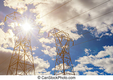 Electricity Pylon overhead power line transmission tower at...