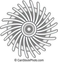 Round ventilator icon monochrome - Round ventilator icon in...