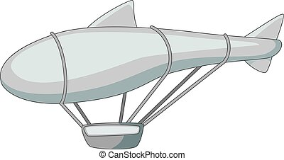 Flying dirigible icon monochrome - Flying dirigible icon in...