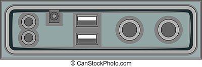 Cable connection panel icon monochrome