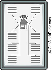 Tablet with system clever house icon monochrome