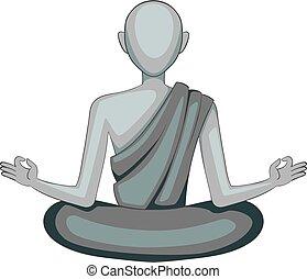 Buddhist monk icon monochrome - Buddhist monk icon in...