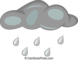 Cloud with rain drops icon monochrome
