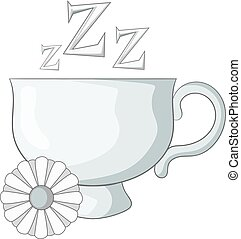 Chamomile tea icon monochrome