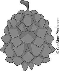 Pine cone icon monochrome - Pine cone icon in monochrome...