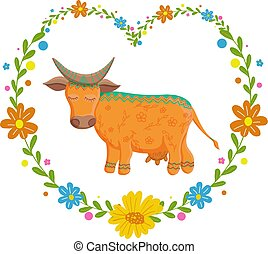Card with lovely cute pattern cow In the heart of flowers. Vector illustration in cartoon style.