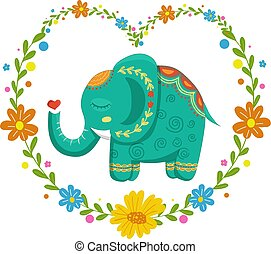 Card with lovely cute pattern Elephant In the heart of flowers. Vector illustration in cartoon style.