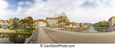 Panorama shot, view onto the Peterskirche church in the town...