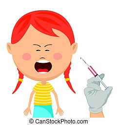 Cute little girl getting vaccination crying