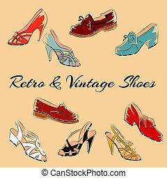 Set of retro vintage female shoes. Sketch vector...