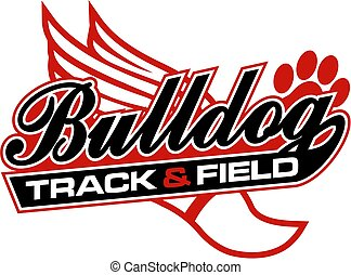 bulldog track and field design in script with tail for...