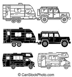 Set of camper vans icons. Thin line icons and silhouettes....