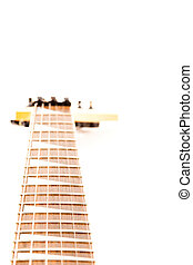 A six string electric guitar isolated on a white background