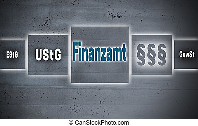 Finanzamt (in german Finance office) touch screen concept background