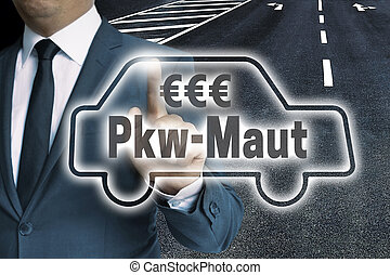 PKW-Maut (in german toll) car touchscreen man operated...