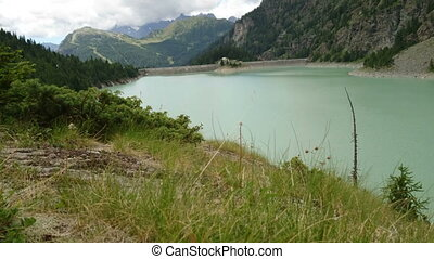 Alpe Gera dam in northern Italy - Alpe Gera dam and basin in...