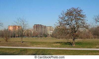Buildings facing Parco Nord in the north of Milan -...