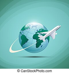 Airplane flies around the earth planet. Stock vector...